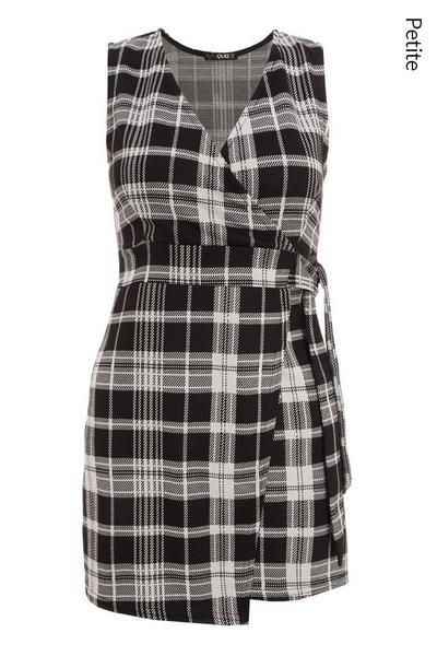 Petite Black Check Wrap Pinafore Dress